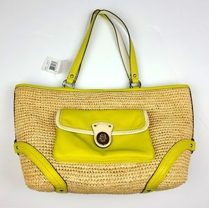 COACH Straw and Leather Tote